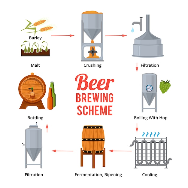 Stages of beer production. vector symbols of brewery. beer brewing, stage manufacturing and produce illustration Premium Vector