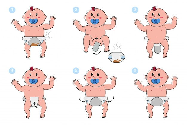 Premium Vector Stages Of Changing Diapers In Newborn Baby Vector Cartoon Set Isolated