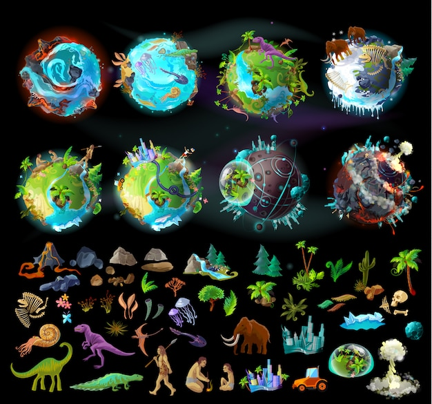 Stages of earth evolution, cartoon creation set with various colorful icons, plants and animals Free Vector