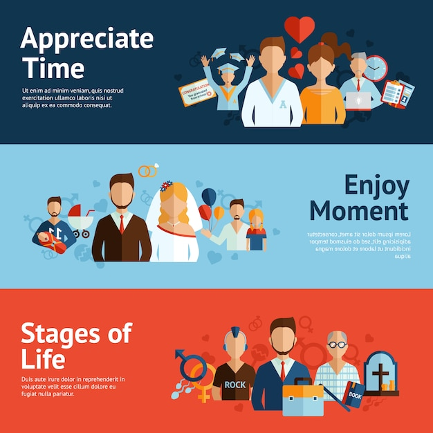 Stages of life concept banners set Free Vector