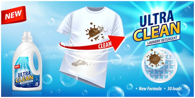 Stain remover, ad  template or magazine . ads poster design on blue background with white t-shirt and stains Premium Vector