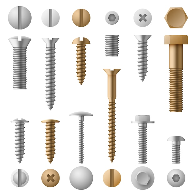 Stainless bolts screws, nuts, fasteners and rivets   isolated on white Premium Vector