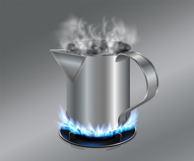 Stainless steel cylinder for ancient black coffee maker used on gas stove for coffee infusion still popular in asia Premium Vector