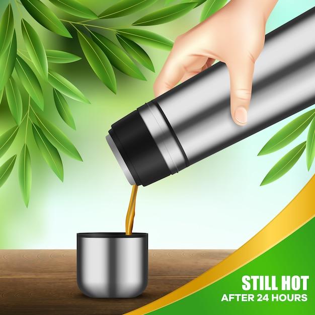 Контейнер для напитков из нержавеющей стали наливая чай Бесплатные векторы