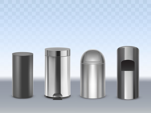 Stainless steel trash cans 3d realistic vector set isolated on transparent. cylindrical matte black, glossy, chrome plated metal containers for waste with moving lid and pedal illustration Free Vector
