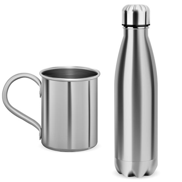 Бутылка для воды из нержавеющей стали. термо колба. Premium векторы