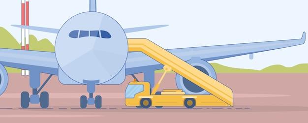 旅客機フラットベクトルの近くの階段トラック Premiumベクター