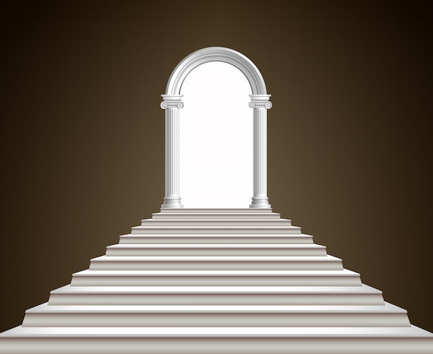 Staircase and arch Premium Vector