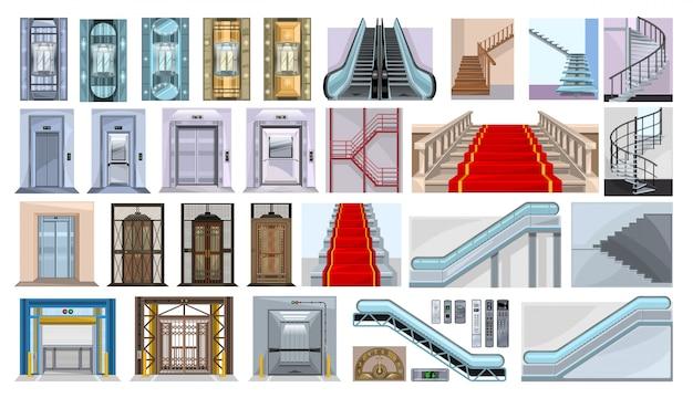 흰색 배경에 에스컬레이터 그림의 계단입니다. 격리 된 만화 아이콘 계단을 설정합니다. 만화는 아이콘 계단을 설정합니다. 프리미엄 벡터