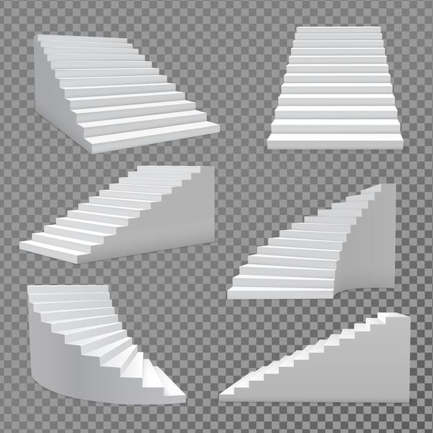 Stairs vector set Premium Vector
