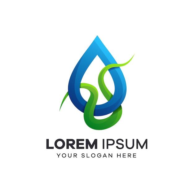 茎と水滴のロゴ Premiumベクター