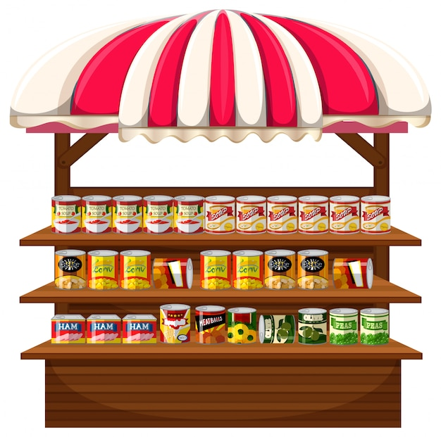 A stall of canned food Premium Vector