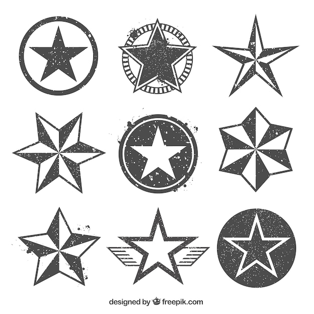 Stamped star icons Free Vector