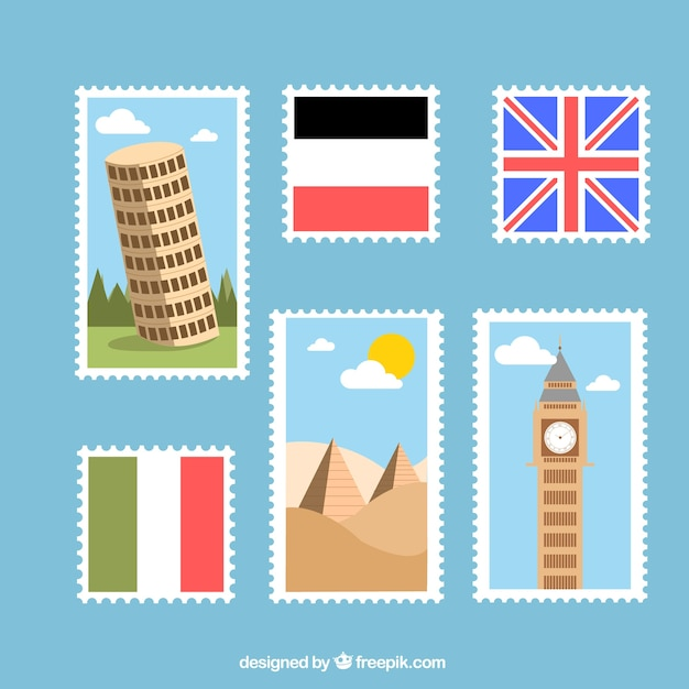 Stamps of countries in flat design