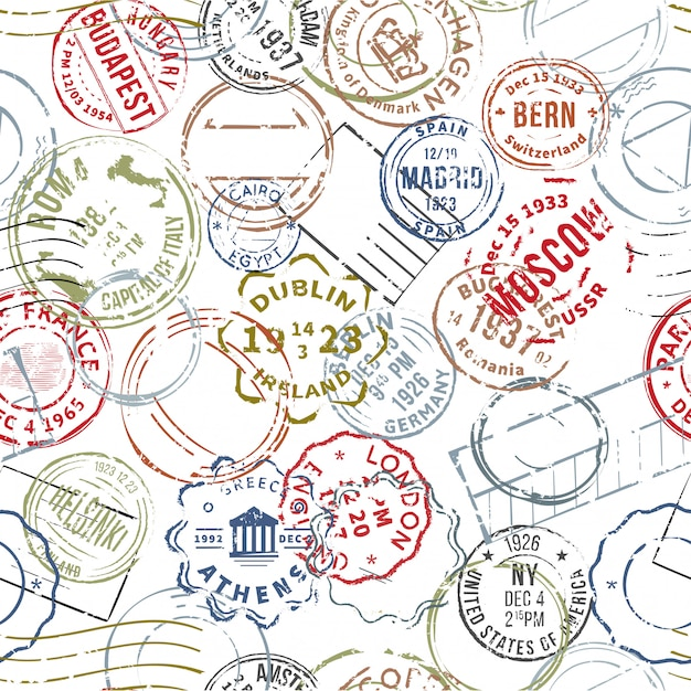 Modello senza cuciture di francobolli stile retrò Vettore gratuito