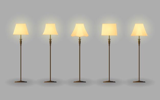 Stand lamp interior vector bundle design illustration Premium Vector