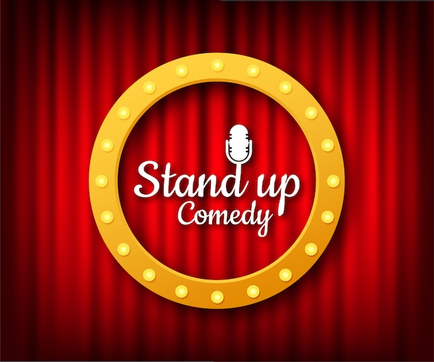 Stand up in flat style on red background. retro microphone . mic stand.   illustration. Premium Vector