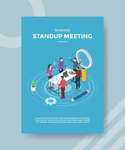Stand up meeting people teamwork discussion on workspace for template of  flyer Free Vector