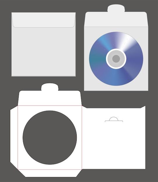 Standard disc envelope mockup with dieline cut Premium Vector