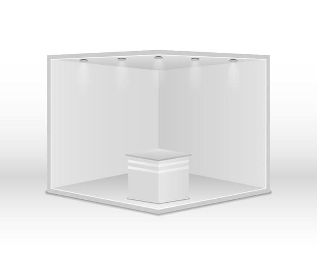 스포트라이트가있는 표준 전시 스탠드. 흰색 빈 패널, 광고 스탠드. 흰색 바탕에 크리 에이 티브 전시 부스 디자인입니다. 프레젠테이션 이벤트 룸 디스플레이. 벡터 일러스트 레이 션, 분기 Eps 10 프리미엄 벡터