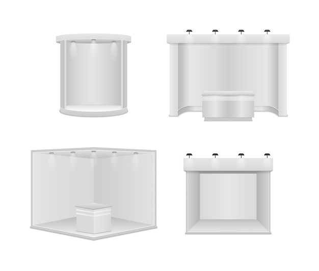 スポットライト付きの標準展示スタンド。白い空白のパネル、広告スタンド。白い背景の上の創造的な展示ブースのデザイン。プレゼンテーションイベントルームのディスプレイ。 Premiumベクター