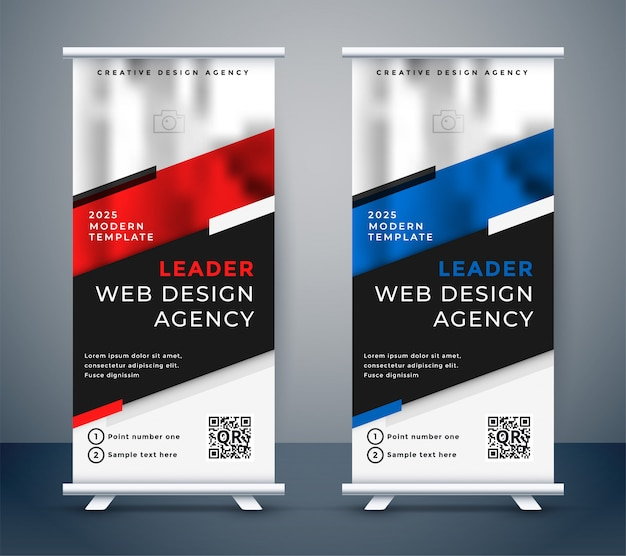 Дизайн standee для вашей бизнес-презентации Бесплатные векторы