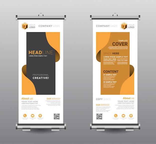 Сверните баннер standee бизнес шаблон дизайна. Premium векторы
