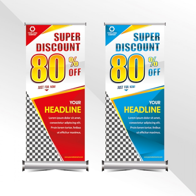Standing banner template super special discount offer sale promotion Premium Vector