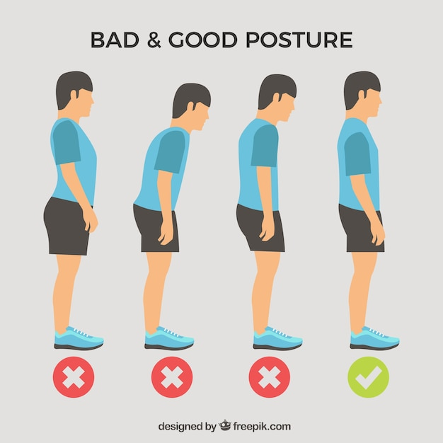 Standing boy pack with correct and incorrect posture Free Vector
