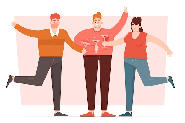 Standing friends toasting together Free Vector