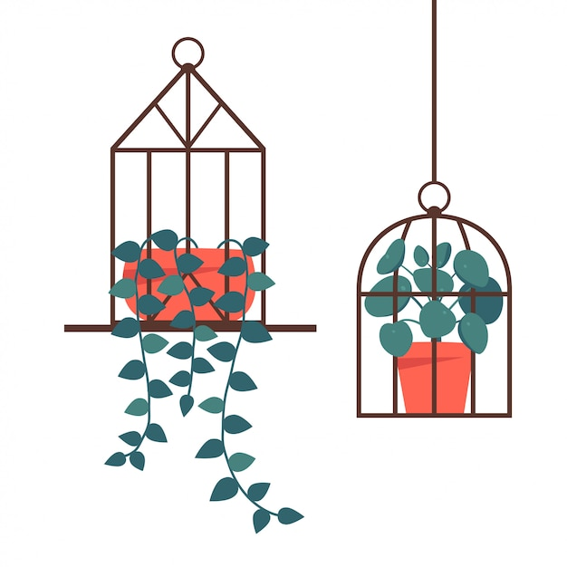 Standing and hanging terrarium with potted plants Premium Vector