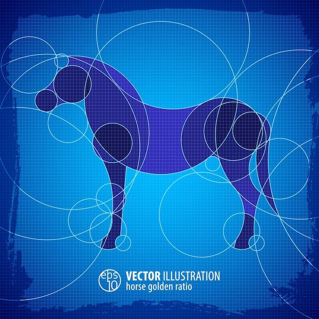 Стоящая лошадь декоративная синяя схема иллюстрации с названием квартиры Бесплатные векторы