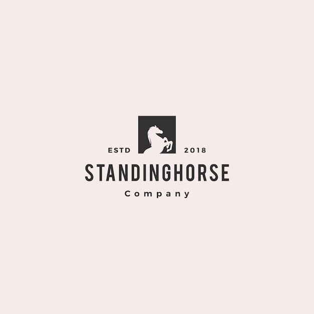 Standing horse logo hipster Premium Vector