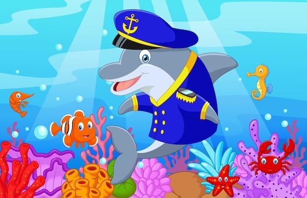 Standing little cartoon dolphin Premium Vector