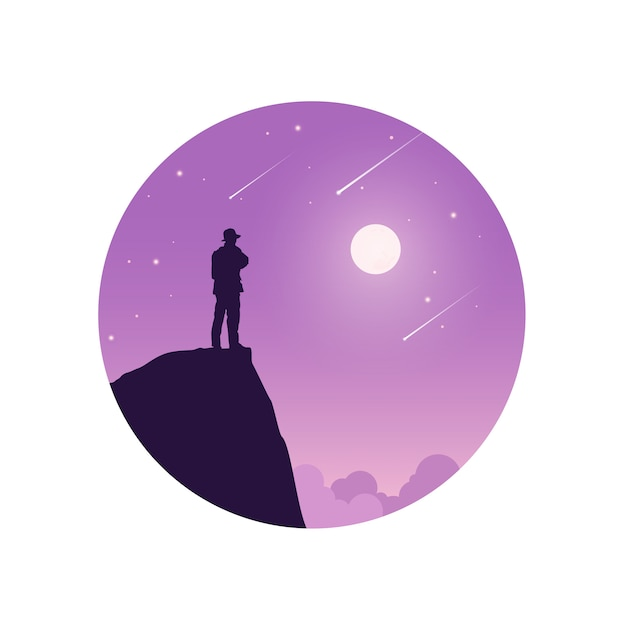 Standing on the top of mountain. Premium Vector
