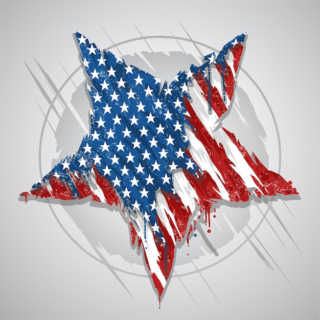 Star america usa flag abstract grunge eps element vector Premium Vector