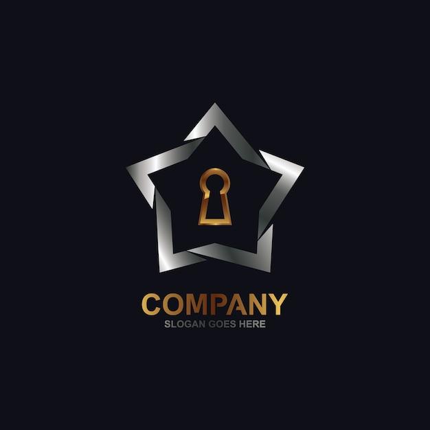星と鍵穴のロゴ Premiumベクター