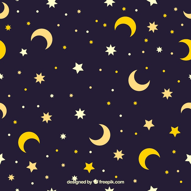 Star and moon pattern Free Vector