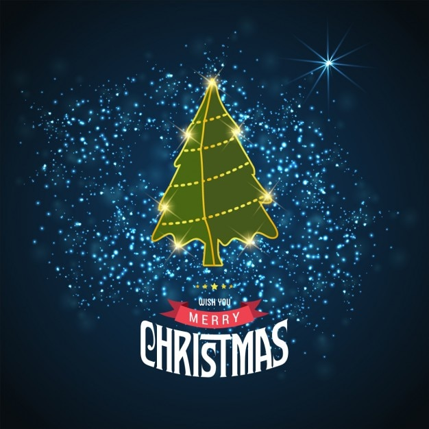 Star background with christmas tree Free Vector