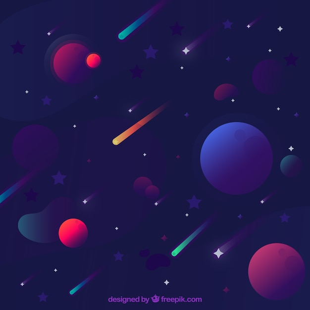 Star Background With Planets Free Vector