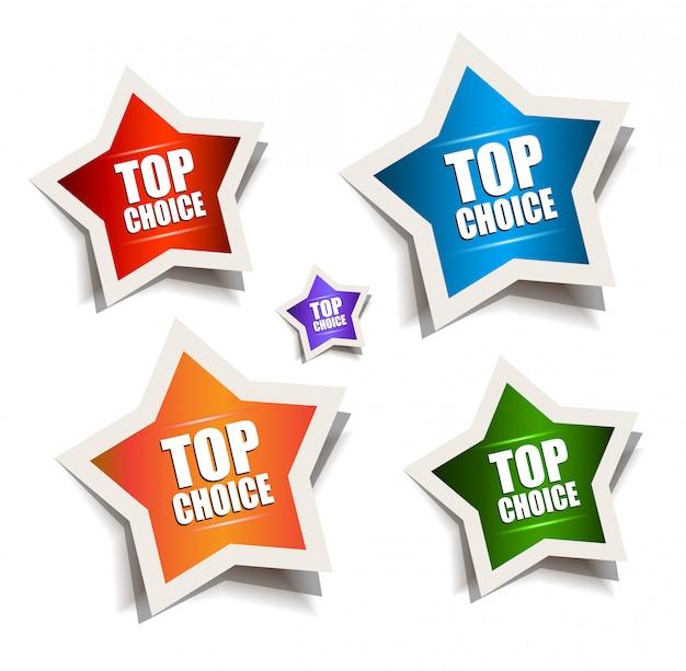 Star bubble speech with best choice motive Premium Vector