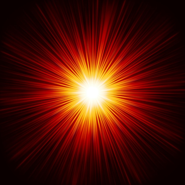 Star burst red and yellow fire. Premium Vector