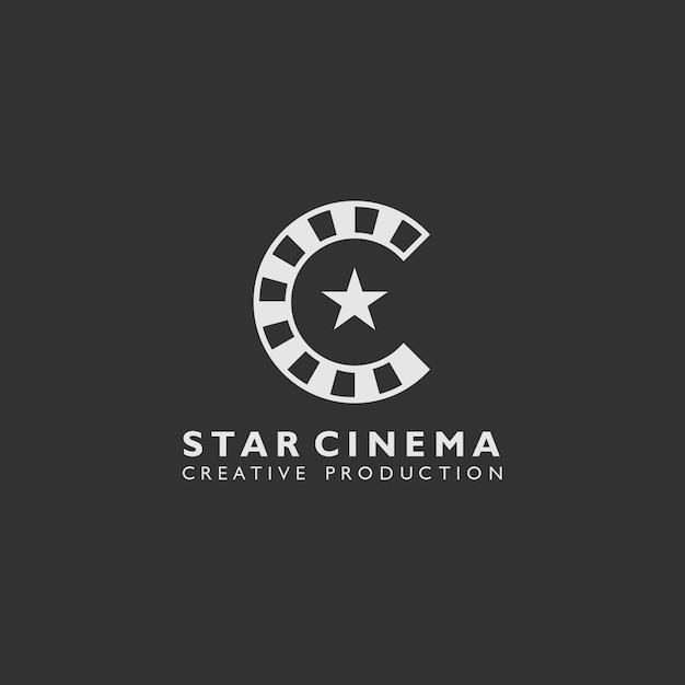 ロールフィルム形状のスターシネマロゴ Premiumベクター