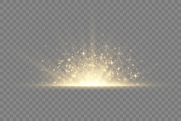 Star explosion on transparent background, yellow glow lights sun rays, flare special effect with rays of light and magic sparkles, bright and shining golden star, Premium Vector