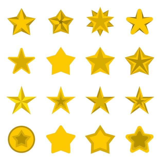 Star icons set, flat ctyle Premium Vector