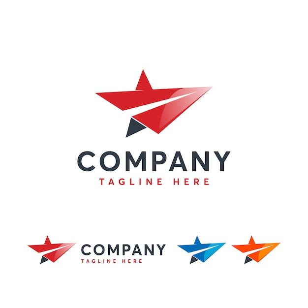 Star jet logo template Premium Vector