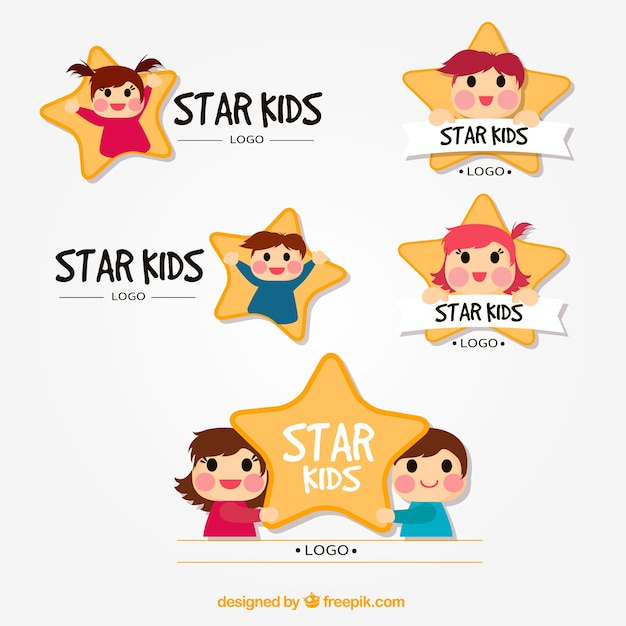 Star kid logo collection Free Vector