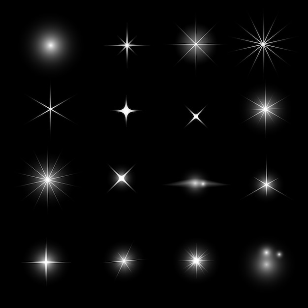 Star light glitter and shine effect set Premium Vector
