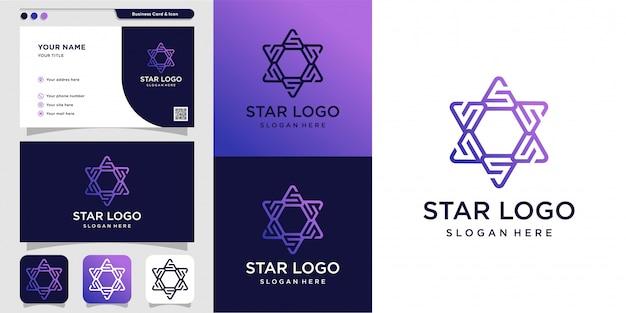 Star logo and business card design illustration Premium Vector