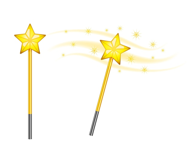 Star magic wands isolated Free Vector